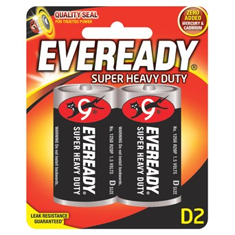 Eveready Zinc D batteries 2s (EVR20SUPERB2)